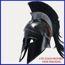 Medieval Greek Corinthian Helmet with Black Plume Armor Knight Spartan