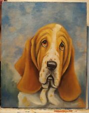 ORiginAL Oil Painting~Basset Hound*Dog~Portrait~Hand Painted~one of a kind---art