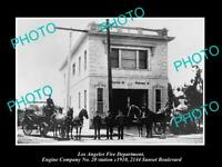 OLD HISTORIC PHOTO OF LOS ANGELES FIRE DEPARTMENT, THE No 20 ENGINE STATION 1910