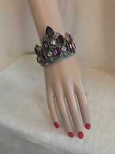 Heidi Daus Many Shades of Fabulous Purple Crystal Link Bracelet - Size S/M, 7""