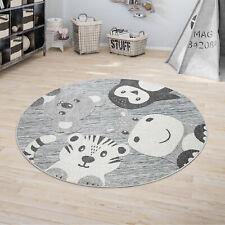 Kinderteppich Kinderzimmer Outdoorteppich Rund Spielteppich Modern Tiere Grau
