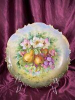 Antique LS&S Carlsbad Austria Hand Painted Platter Charger Fruit Motif c. 1880's