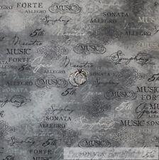 BonEful Fabric FQ Cotton Quilt VTG Gray Tone Tonal Old Music Opera Symphony Word