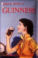 Guinness relajación Mujer Letrero Letrero De Metal 3D en relieve arqueado