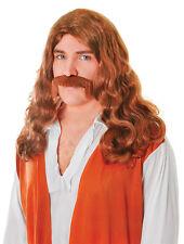 Hippy MAN #wig + Tash Set Marrone Costume Accessori Adulti