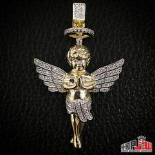 Mens Gold Finish .925 Silver Pendant Praying Halo Angel Charm Hip Hop Iced Out