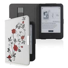 Flip Tasche für Tolino Shine 2 HD Leder-Imitat Rose Schutzhülle Etui Case Weiß