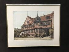 "Original 1935 OTTO HOLM Framed Etching ""Horsens"""