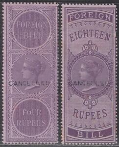 India 1861 QV Revenue Foreign Bill CANCELLED Overprint 4r, 18r BF15c BF19c