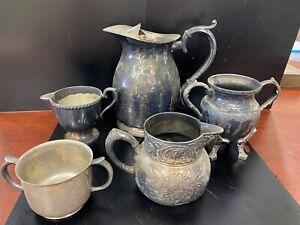 Antique Sterling Silverplate 925 Lot Pitcher Rogers Urn Sugar Creamer Vase Cup