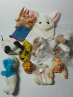 Vintage 80's Lot of Plush Stuffed Animals Hand Puppets Russ Smurf Hush Puppies
