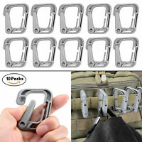 10 Pcs Grey Multipurpose D-Ring Locking Tactical Link for Molle Webbing in Pouch