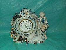 Vintage Blue - White w/Gold - LINDEN - Mantel Wind-Up Clock w/ Alarm
