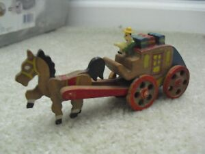 Vintage Japan Marked Hand Painted Wood Horse with Carriage Figurine