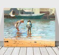 "WINSLOW HOMER - Boys Wading - CANVAS ART PRINT POSTER - Beach Sea Boats 18x12"""