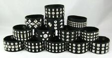 New Set of 12 Different Faux Leather Studded Punk Rocker Biker Bracelets