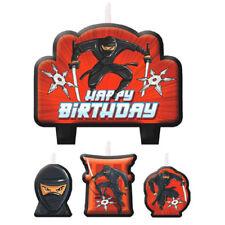 HAPPY BIRTHDAY Ninja MINI CANDLE SET (4pc) ~ Party Supplies Cake Decorations