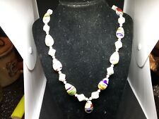 "glass Bead Necklace 22"" Vintage West Germany white Colorful"
