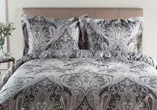 Grey Paisley Duvet Cover Set King Size 3 Piece 100 % Cotton Sateen 300 TC