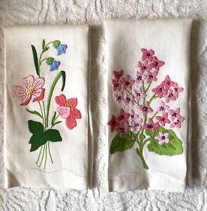 Floral Flower Vintage Hand Towel Napkins Handstitched Applique Spring X 2