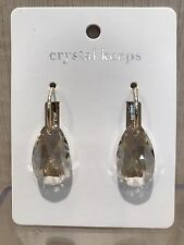 Genuine Austrian Crystal Silver Shade Clear Pear Drop Gold Lever Back Earrings