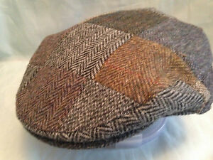 MENS TRADITIONAL PURE WOOL HARRIS TWEED PATCH WORK FLAT CAP DIRECT FROM SCOTLAND