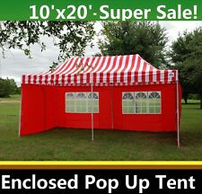 10'x20' Enclosed Pop Up Canopy Party Folding Tent Gazebo - Red Stripe - E Model