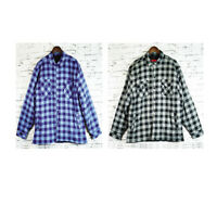 Mens Flannelette Shirt Winter Long Sleeve Poly Fill and Quilting 100% Cotton