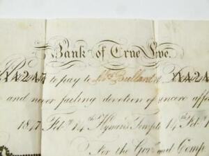 1847 Valentine BANK of TRUE LOVE Banknote Lace Doily Chatham Tombstone Entire *