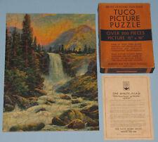 "VINTAGE TUCO PICTURE PUZZLE ORANGE BOX ""BRIDAL VEIL FALLS"" WATER FALL 1930'S CIB"