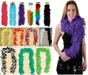 5ft LONG FEATHER BOA WHITE BLACK BURLESQUE SHOW GIRL HEN NIGHT FANCY DRESS PARTY