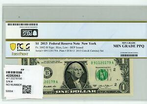 2013 FEDERAL RESERVE NOTE $1 NEW YORK PCGS MIN GRADE PPQ