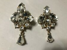 Pierced Drop Earrings Vintage Clear Rhinestone Large