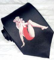 Cravate noire pour homme, robe rouge pin-up 100% soie, imprimée, haute qualité