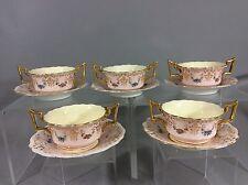 Antique Cauldon England Bouillon Soup Bowl &Saucer Set Of 5