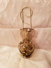 Vintage Gold Painted Floral Bulb Glass Vase with White Wire Frame Wall Pocket