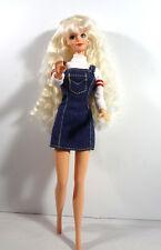 Barbie Doll Long Platinum Blonde Crimped Hair White Blue Jean Denim Mini Dress