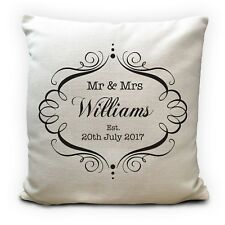 Mr and Mrs Personalised Wedding Anniversary Cushion Cover Gift Him Her Couple16""