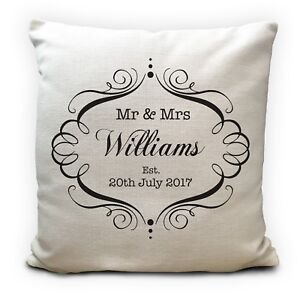Mr and Mrs Personalised Wedding Anniversary Cushion Cover Gift 16 Inches
