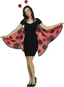 Ladybug Soft Wings & Antennae Headband Set Adult Costume Accessory NEW One Size