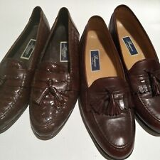 2 Pairs of Cole Haan Bragano Leather Loafers Men's 13 -Woven Tassel Brown SlipOn