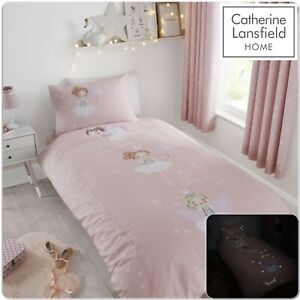 Catherine Lansfield Kids Make A Wish Duvet Cover Bed Range Glow In The Dark Pink
