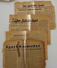 JUDAICA GERMANY 4 PARTIAL NEWSPAPER REGARDING JEWISH SPORT 1933 - 1939