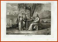 Stampa antica sacra Samaritana incisione autentica acquaforte religiosa bibbia