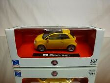 NEW RAY 19583 FIAT 500 2007 SUN ROOF - YELLOW 1:43 - GOOD IN BOX