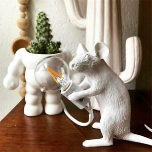 NEW Creative Designer Cool Mouse Bedside Table Resin Lamp Sitting White Light