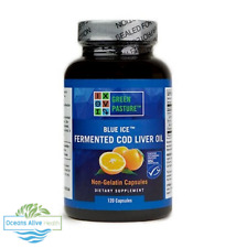 NEW Green Pasture Fermented Cod Liver Oil Orange Flavour -120 Capsules -Blue Ice