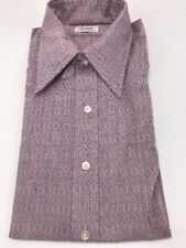 Vtg NWT 1960s 1970s Mens Enro Shirt Permanent Press Poly Blend Purple Disco Mod
