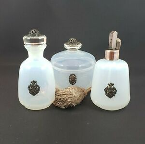 Atomizer, Cologne and Powder Jar Set - White Opalescent with Filigree