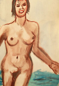 Vintage watercolor painting impressionist nude girl portrait